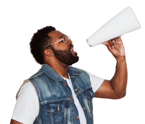 Man talking into a megaphone